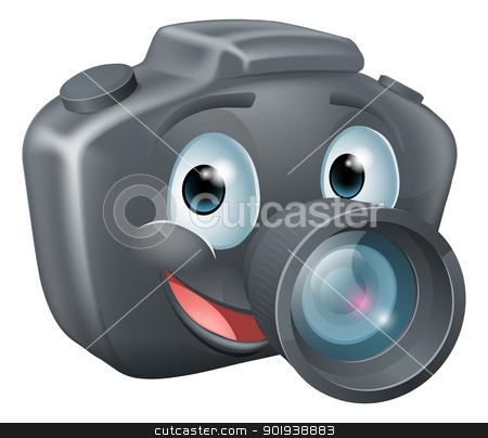 DSLR camera mascot character stock vector clipart, Illustration of a cute happy DSLR camera mascot character with a big smile by Christos Georghiou