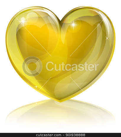 Heart of gold stock vector clipart, A golden heart concept. Could be for a heart of gold, i.e. kind or loving or an award for good service or similar. by Christos Georghiou