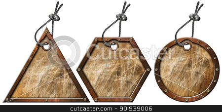 Set of Grunge Metal Tags - 3 items stock photo, Three empty grunge metallic tags with steel cable and metal rivets