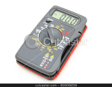 Multimeter of black color stock photo, Multimeter of black color with a red and black wire on a white background by aarrows