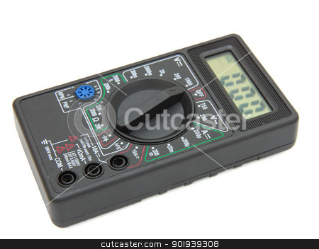 Digital multimeter on white background stock photo, Digital multimeter on white background by aarrows