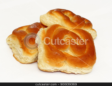 Homemade buns isolated on white background stock photo, Homemade buns isolated on white background by aarrows