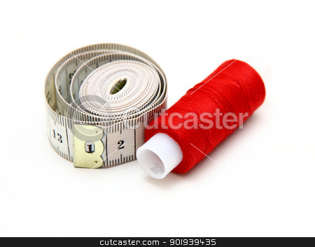 The coil of a red thread with centimeter  stock photo, The coil of a red thread with centimeter on a white background by aarrows