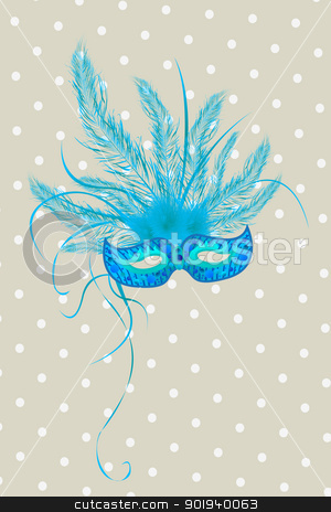 Mardigras stock vector clipart, Blue mardigras mask deorated with feathers by Richard Laschon
