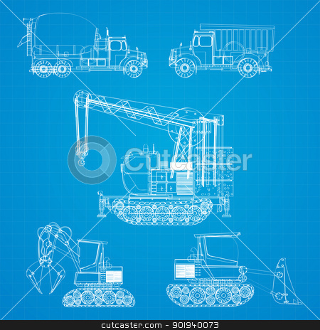 Construction vehicles blueprint stock vector clipart, Construction vehicles  blueprint, stylized design elements by Richard Laschon