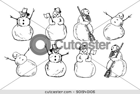 Cartoon snowman stock photo, Snowmen planimetric with brooms in a hat and a scarf in various poses by aarrows