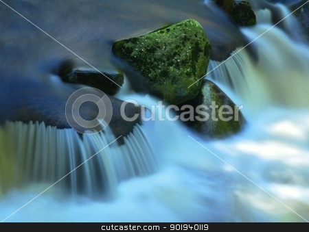 River stock photo, A small river flows through a wild landscape with rocks by Ondrej Vladyka