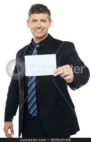 Business consultant presenting blank placard stock photo, Business consultant presenting blank placard isolated over white background by Ishay Botbol   