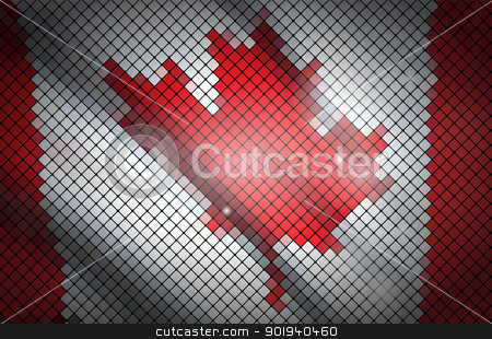 Flag of Canada stock vector clipart, Canada flag made ​​of tiles. Vector illustration. by vtorous