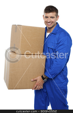Relocation assistant staff carrying cardboard boxes stock photo, Relocation assistant staff carrying cardboard boxes isolated against white background by Ishay Botbol