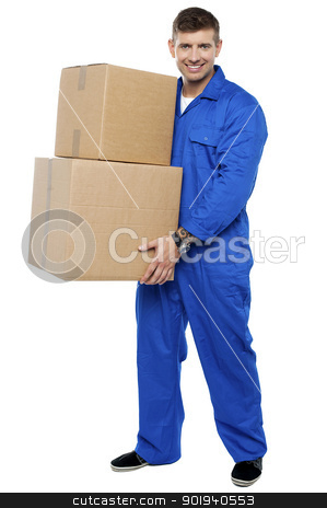 Young smart relocation staff carrying cartons stock photo, Full length portrait of young smart relocation staff carrying cartons by Ishay Botbol   