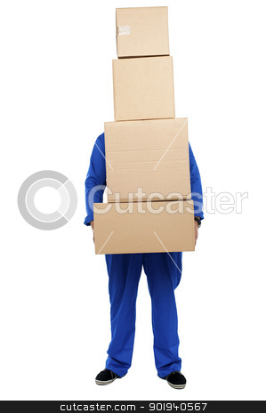 Guy overloaded with pile of cartons stock photo, Guy overloaded with pile of cartons isolated against white background by Ishay Botbol