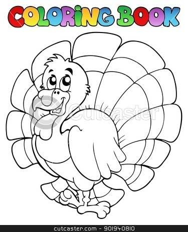 Coloring book happy turkey stock vector clipart, Coloring book happy turkey - vector illustration. by Klara Viskova