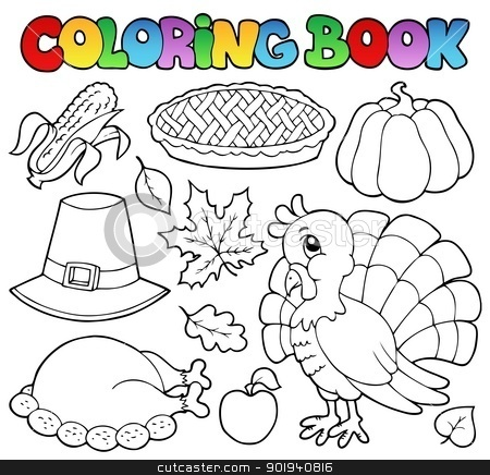 Coloring book Thanksgiving image 1 stock vector clipart, Coloring book Thanksgiving image 1 - vector illustration. by Klara Viskova