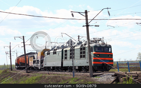 green electric locomotive stock photo, head of train - green electric locomotive by aarrows