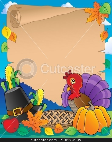 Thanksgiving theme parchment 1 stock vector clipart, Thanksgiving theme parchment 1 - vector illustration. by Klara Viskova