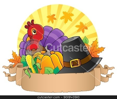 Thanksgiving theme parchment 3 stock vector clipart, Thanksgiving theme parchment 3 - vector illustration. by Klara Viskova