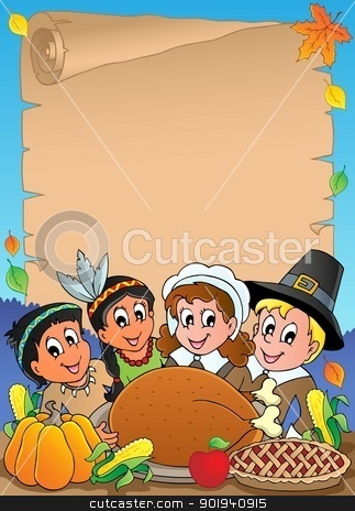 Thanksgiving theme parchment 5 stock vector clipart, Thanksgiving theme parchment 5 - vector illustration. by Klara Viskova