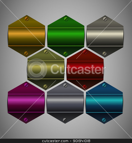 Vector metallic sticker collection  stock vector clipart, Creative and highly reflected vector metallic sticker collection for multipurpose use. by Vladimir Repka