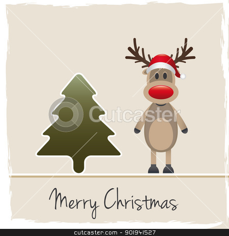 reindeer red nose santa claus hat stock photo, rudolph reindeer red nose santa claus hat by d3images