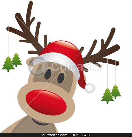 reindeer red nose hang christmas tree stock photo, rudolph reindeer red nose hang christmas tree by d3images