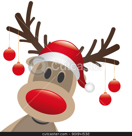 reindeer red nose christmas balls stock photo, rudolph reindeer red nose hang christmas balls by d3images