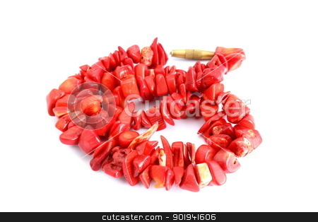 red beads over white stock photo, red coral beads over white background by coroiu octavian