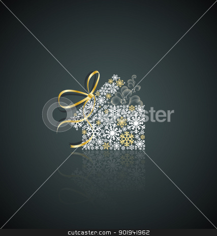 Christmas present stock vector clipart, Christmas present box made from snowflakes by Miroslava Hlavacova