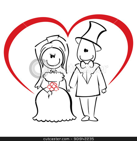 Wedding ceremony stock vector clipart, Groom and bride standing and holding hands by Oxygen64