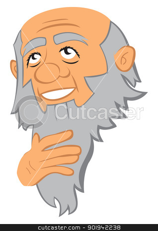 Philosopher stock vector clipart, Portrait of thinking old man with beard by oxygen64