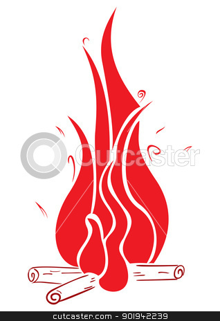 Fireplace stock vector clipart, Flames over camp fire isolated on white by oxygen64