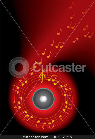 Music background stock vector clipart, Dark background and music notes flying around speaker by oxygen64