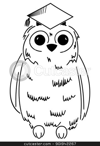 Wisdom symbol stock vector clipart, Illustration of owl in graduation cap by Oxygen64