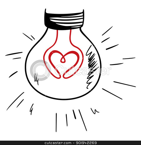 Light of love stock vector clipart, Bulb light with red heart symbol inside by Oxygen64
