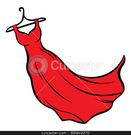 Red dress stock vector clipart, Illustration of red dress hanging on coat hanger by Oxygen64