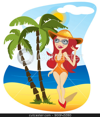 Woman on beach stock vector clipart, Beautiful girl in hat on the beach by Oxygen64