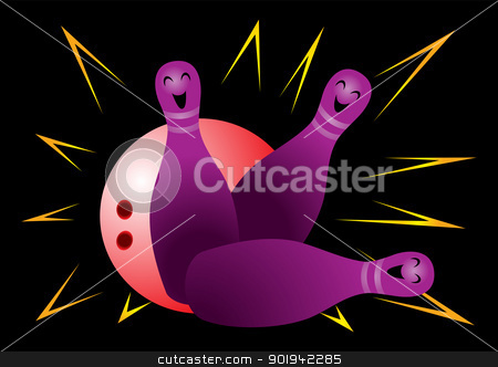 Bowling stock vector clipart, Red bowling ball crashing into the happy pins by oxygen64