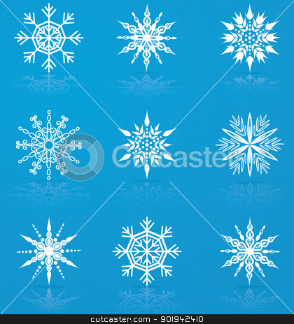 Set of vector snowflakes stock vector clipart, Set of nine vector snowflakes for christmas design by Allaya