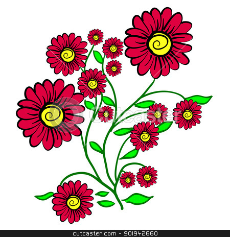 hand drawn background with a flower stock vector clipart,  hand drawn background with a  flower by aarrows