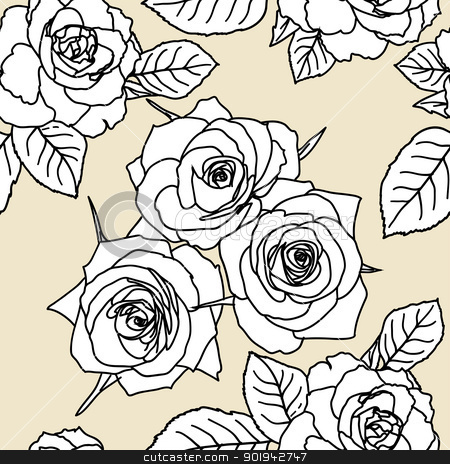 Seamless wallpaper with rose flowers stock vector clipart, Seamless wallpaper with rose flowers by aarrows