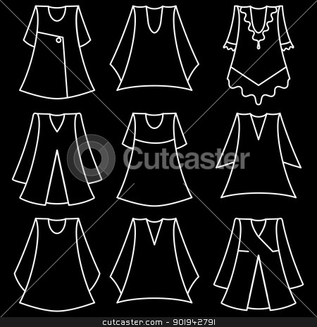 Vector set of fashionable  dresses for girl stock vector clipart, Vector set of fashionable  dresses for girl by aarrows