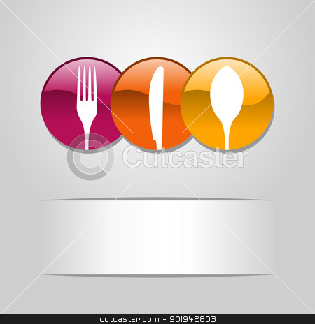 Food web button icons stock vector clipart, Multicolored web buttons food icon: spoon, fork and knife restaurant banner. Vector illustration layered for easy manipulation and custom coloring by Cienpies Design