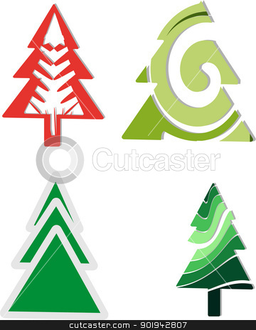 Icons four Christmas trees stock vector clipart, Abstract Christmas tree crazy shapes. by Pavel Skrivan