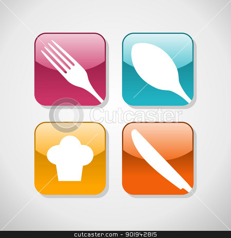 Gourmet glossy icons set background stock vector clipart, Multicolored cutlery web icons set. Restaurant and food industry background. Vector illustration layered for easy manipulation and custom coloring by Cienpies Design