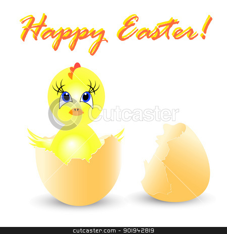easter holiday illustration with chicken stock vector clipart, easter holiday illustration with chicken, isolated on white background by aarrows