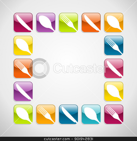 Rounded square cutlery web icons background stock vector clipart, Multicolored cutlery web icons background for restaurant. Vector illustration layered for easy manipulation and custom coloring by Cienpies Design
