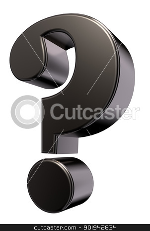 metal question mark stock photo, metal question mark on white background - 3d illustration by J?