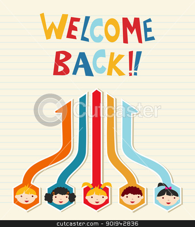 Welcome back to School student network stock vector clipart, Welcome back to School children network diagram illustration. Vector illustration layered for easy manipulation and custom coloring. by Cienpies Design