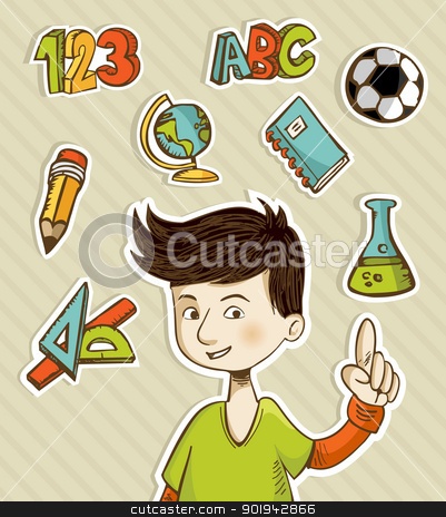 Back to School cartoon kid  stock vector clipart, Back to School cartoon kid showing hand drawn icons set. Vector illustration layered for easy manipulation and custom coloring. by Cienpies Design