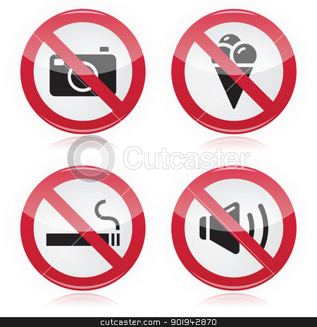 Forbidden sign: no cameras, no food, no smoking, no noise stock vector clipart, Red glossy modern watning signs set